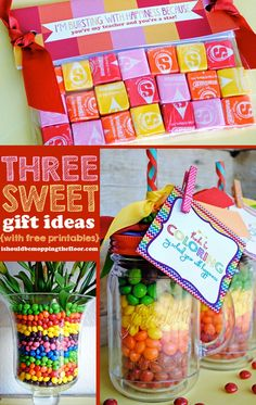 Three super SWEET gift ideas and free printables to match two of them! Perfect for teacher appreciation week gifts.