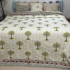 Kantha Quilt- Cotton Palm Tree Quilt - Citrus - Yummy Linen Kantha Quilt, Quilts, Help The Poor, Tree Quilt, Linen Bedding, Palm Trees, Earthy, Print Patterns, Blanket