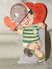 VINTAGE 1930s VALENTINE Die Cut Moveable Stand Up TENNIS Player Boy STRIKE Me