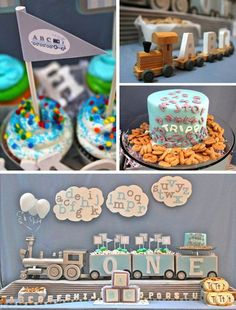 Alphabet Train Party in baby blue + silver