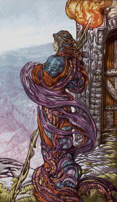 IX - L'ermite - Universal Fantasy Tarot par Paolo Martinello