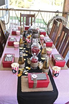 """Shower idea #Cricut captain hook table  You will be proud to serve Pirate Grub on this well set table.  Using Cricut Bags Boxes and More cartridge to make some adorable """"treasure chests"""" with some tasty loot inside!"""