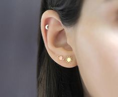 Moon Star and Saturn earrings set pieces) - Sun earring, Moon earring, Saturn earring, yellow gol Pretty Ear Piercings, Ear Peircings, Types Of Ear Piercings, Moon Earrings, Cute Earrings, Crystal Earrings, Triple Ear Piercing, Cute Cartilage Piercing, Second Lobe Piercing