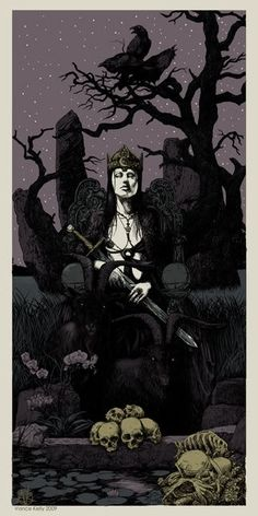 Morrigan - Celtic Goddess of War, part of the triple goddes Morrigna along with Badb and Macha.  Also known as Anu, Mor Righ Anu.  Takes the form of a raven and flys over battlefields and choose who will die, taking their sould to the otherworld