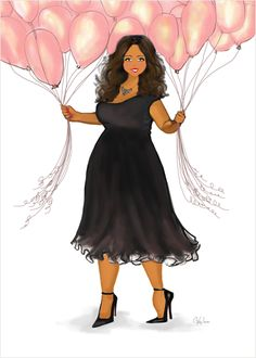 Beautiful Birthday Card - art fashion illustration design featuring a fashionista holding pink balloon bouquets and a cheerful smile.