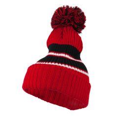 Two Tone Striped Knit Pom Beanie - Red Black