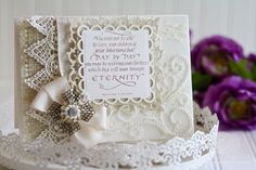 Card Making Ideas by Becca Feeken using Quietfire Design - You May Not Be Able to Leave Your Children,  Spellbinders Fleur de Lis Squares, Spellbinders Lacey Squares - www.amazingpapergrace.com