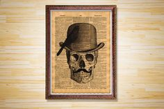 Skull with hat print Medical poster by CrowDictionaryPrints