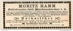 Original-Werbung/Inserat/ Anzeige 1891 - VOLKSZITHER / HAMM MARKNEUKIRCHEN - ca. 115 x 45 mm