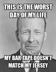 Life is tough. #Mismatching bar tape.