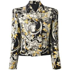 Versace Vintage Cropped Baroque Jacket (€625) ❤ liked on Polyvore featuring outerwear, jackets, blazers, coats, coats & jackets, black, black faux jacket, black jacket, double breasted jacket and black double breasted jacket