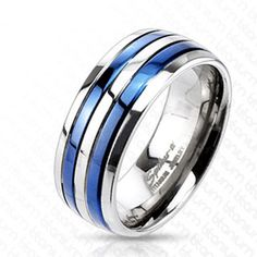 Brilliant mirror polished titanium band style ring with two charming and delightful royal blue stripes. Simply gorgeous. For men and women. Perfect for couples.  Wholesale Titanium Rings & Wedding Bands. www.925express.com