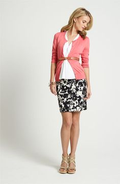 Love this rose cardigan with navy print pencil skirt and white blouse