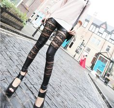 91b07a136ebaa7 Free Shipping New Fashion Leggings Rose Lace PU leather Leggings Skinny  Stretch Pants for spring summer