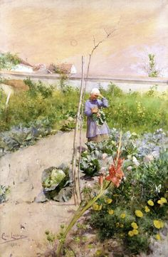 The Athenaeum - In the Kitchen Garden Carl Larsson (1883) Nationalmuseum - Stockholm Painting - watercolor