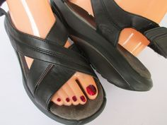 MBT women sandals size 10 Black Leather #MBT #PlatformsWedges #Casual