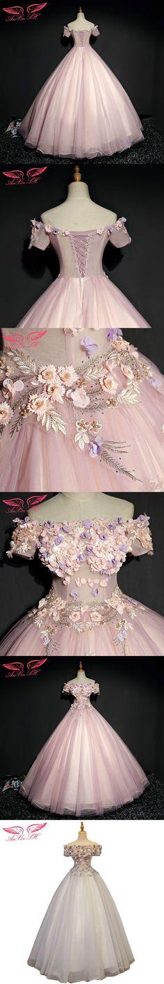 AnXin SH flower princess bride evening dress vocal solo theatrical costumes pink flower bow evening dress #eveningdresses