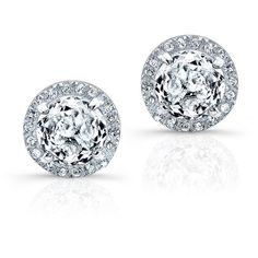 Anne Sisteron  14KT White Gold White Topaz Diamond Teresa Stud... (1,475 ILS) ❤ liked on Polyvore featuring jewelry, earrings, white, white jewelry, earring jewelry, white gold earrings, white gold jewellery and white gold jewelry