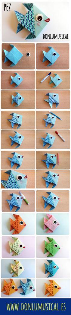 tutorial origami papiroflexia pez ----DIY origami fish from paper ---- Fisch gebastelt / gefaltet - Origami