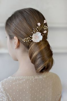 Ivory floral hair pin Champagne floral pearl vine bridal hair vine Delicate ivory wedding hairdress Pearl wedding hair pin bridal satin by Vualia on Etsy