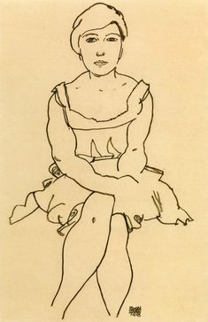 Egon Schiele ~ Sitting Woman, 1918 (pencil)