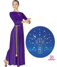 11524 Adult Liturgical Dance Dress W/Cross Applique. $38.25