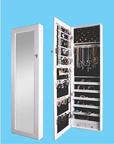 BTEXPERT® Premium Wooden Jewelry Armoire Cabinet Wall mount Over the Door Hanger Locking Organizer Storage box case Cheval Mirror Store Rings, Necklaces, Key Lock for Added Safety, Security- White, http://www.amazon.com/dp/B01C7WCOOS/ref=cm_sw_r_pi_awdm_x_9PUWxb91G1AB6