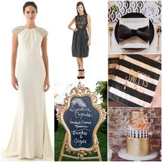 Nothing says GLAMOUR better than a black, white + gold wedding palette. Our Lauren Gabrielson Wonderland dress in black completes this classy look. Bridesmaid Dresses Online, Black Bridesmaid Dresses, Modest Wedding Dresses, Wedding Bridesmaids, Striped Wedding, Gold Wedding, Wedding Shit, Trendy Wedding, Wedding Decor