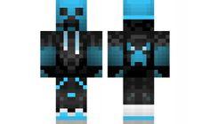 minecraft skin creeper-gamer-blue
