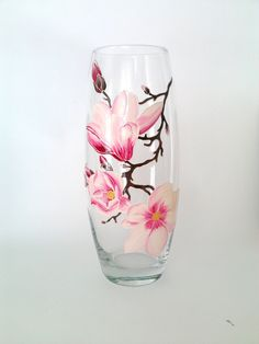 Magnolia Hand painted glass vase Hand painted glass Pink decor Spring flowers…
