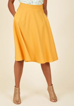 <p>You definitely have that swing when you step out in this rich yellow midi skirt! Part of our ModCloth namesake label, this circle skirt touts a vintage-inspired, high-waisted design, and will surely influence a plethora of dance-worthy ensembles.</p>