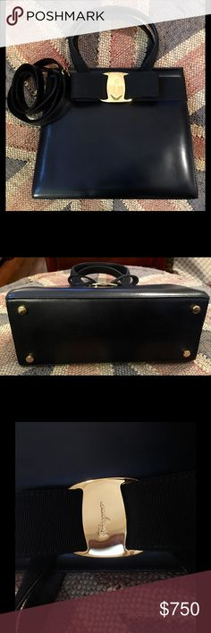 Feragamo Black Leather Bow Purse This is an authentic Salvatore Ferragamo black leather bow purse. Black leather with gold tone accents. This purse is fully lined in Ferragamo signature lining. One inside zipper pocket. Snap closure. Comes with Ferragamo dust cover bag and shoulder strap. I never carried this handbag, so it is in like new condition! This handbag is a real beauty! 9 3/4 inches long by 8 1/2 inches tall by 4 inches deep. 20 inch shoulder strap drop. All reasonable offers will…