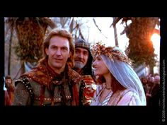 """I loved the beautiful forest-in-autumn wedding scene in this movie, and Marian's gorgeous bridal headdress! Not to mention, Sean Connery was in this scene. (Movie ScreenShots: """"Robin Hood: Prince of Thieves"""" Rainy Day Movies, Kid Movies, Wedding Movies, Wedding Scene, Dream Wedding, Cuerpo Sexy, Medieval, Movie Screenshots, Bridal Headdress"""
