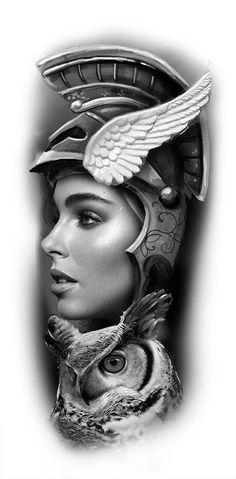Head Tattoos, Body Art Tattoos, Tattoo Sleeve Designs, Sleeve Tattoos, Tattoo Sketches, Tattoo Drawings, Athena Tattoo, Greek God Tattoo, Spartan Tattoo