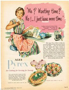 AGEE PYREX AD  RETRO HOUSEWIFE 1951