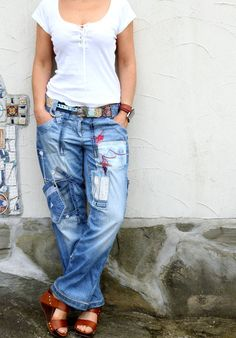 Crazy appliqued recycled upcycled denim jeans