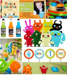 monster party to match with the monster cake...I love the Jones soda!  Chevron straws, water bottles and I'm set!