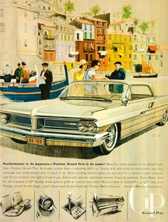 1962 Ad Vintage Pontiac Grand Prix Automobile Car Wide Track General Motors GMC