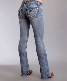 Look what I found on #zulily! Medium Blue Embossed-Button Bootcut Jeans #zulilyfinds