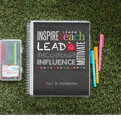 """The """"must have"""" #ErinCondren #Teacher #LessonPlanner with """"Lead"""" cover design is a stylish way for teachers to stay organized and inspired! Follow Driskotech on Pinterest!"""