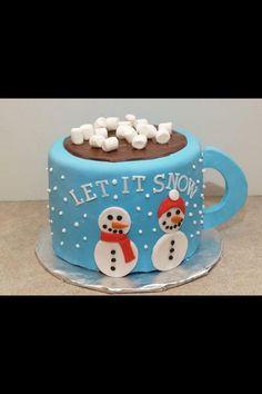 Let it snow mug cake food cake christmas xmas christmas food christmas treats Christmas Cake Designs, Christmas Cake Decorations, Christmas Cupcakes, Christmas Sweets, Holiday Cakes, Christmas Cooking, Christmas Goodies, Xmas Cakes, Christmas Snowman