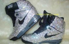 Custom Rhinestone Nike Air Revolution Sky Hi Black - Eshays, LLC | Eshays, LLC