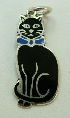 1930s Silver & Enamel Lucky Black Cat Charm HM1938