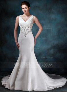 Wedding Dresses - $182.99 - Mermaid V-neck Chapel Train Satin Wedding Dress With Embroidery Ruffle Beadwork (002000047) http://jjshouse.com/Mermaid-V-Neck-Chapel-Train-Satin-Wedding-Dress-With-Embroidery-Ruffle-Beadwork-002000047-g47