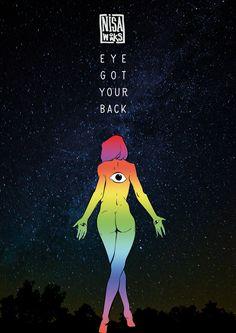 Eye got your back. Digital illustration.