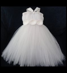 Flower Girl Dress, Tutu in the dark grey with the top in white.