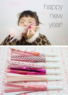 10 New Year's Eve Crafts for Kids (and more)!! Fancy blower diy at Ruffles and Stuff http://www.rufflesandstuff.com/2012/12/happy-new-year-diy-party-blowers.html
