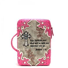 Western Style Bible Cover with Cross & Scripture Quote