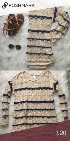 Cream and Blue Striped Crochet Sweater Super pretty light sweater.  Seasonally versatile 85% cotton 15% ramie H&M Sweaters