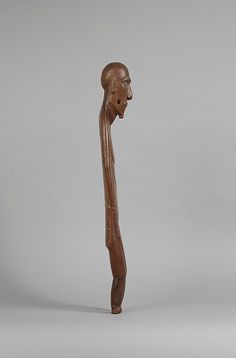Female Figure (Moai Papa) 19th century Geography:Chile, Rapa Nui (Easter Island) Culture:Rapa Nui people Medium:Wood, glass, paint Dimensions:H. 23 5/8 x W. 5 7/8 x D. 3 1/4 in. (60 x 14.9 x 8.3 cm) Classification:Wood-Sculpture